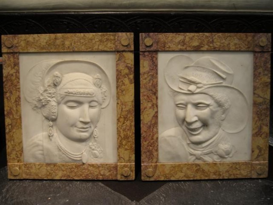 A pair of historically interesting marble reliefs made and signed by the sculptor Kasper Hendrik ...