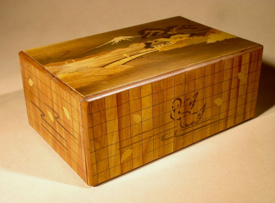 Antique Antique Japanese Finally Inlaid Marquetry Box With Mount Fuji and Secret Compartment Drawer and Lock System circa: 1920