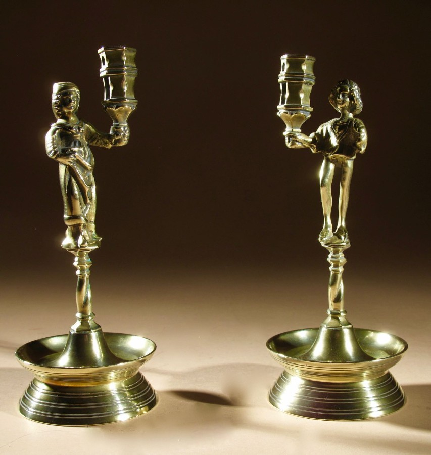 A Rare Pair And Very Decorative Brass Neo-Gothic Candlesticks.