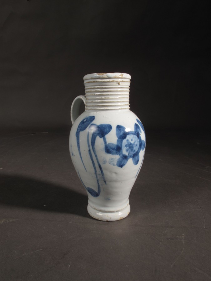 18th century English Delftware jug with beautiful glaze and fresh colours