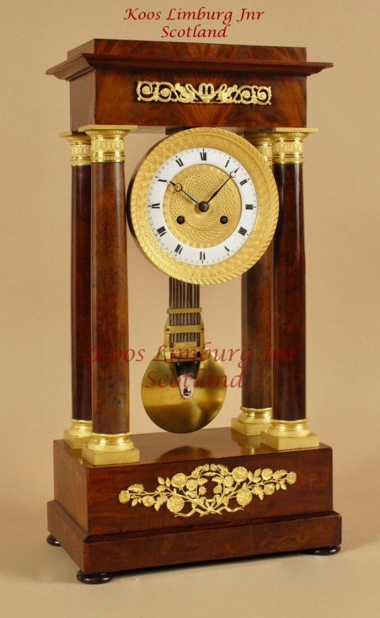 A Very Stylish Charles X Period (1824-1830) Mahogany Portico Clock