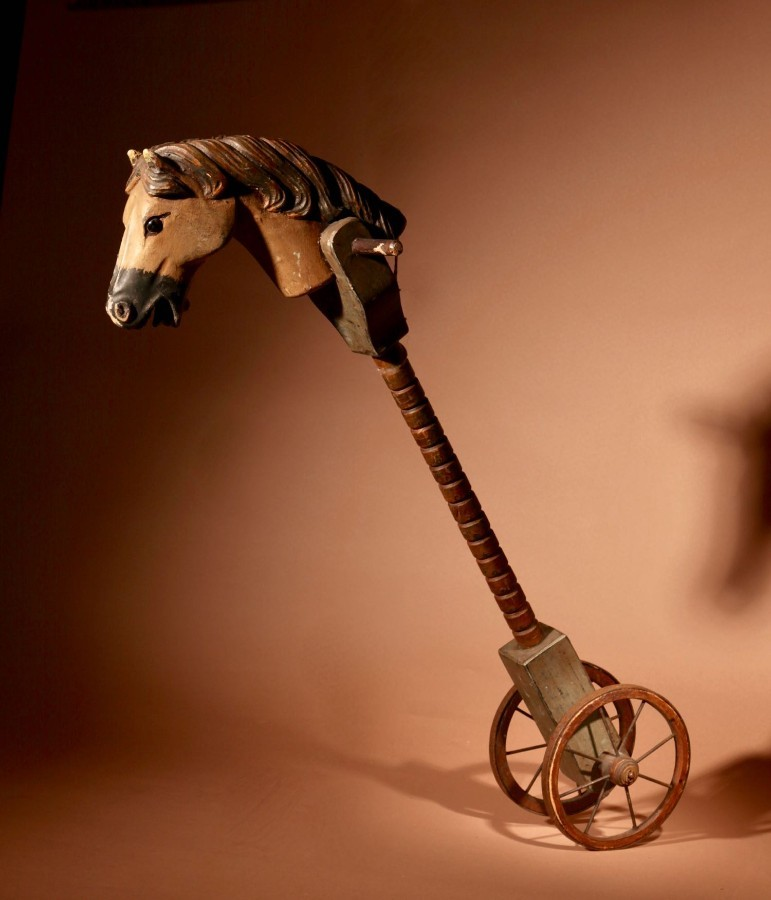 A Toy Hobby Horse Stick Horse On wheels Continental Circa 1900-20.