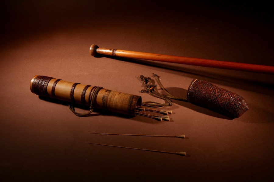 An Interesting Tribal Borneo Blowpipe Quiver And Blowpipe Including Ten Darts.set one
