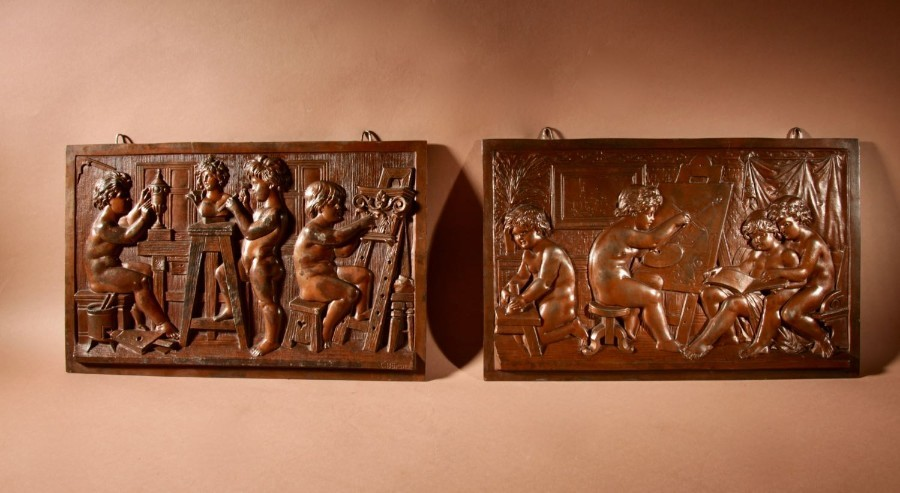 An Original Pair Of Pewter Reliefs Sculpture With The Subject Of A Painters and Sculptor Studio.