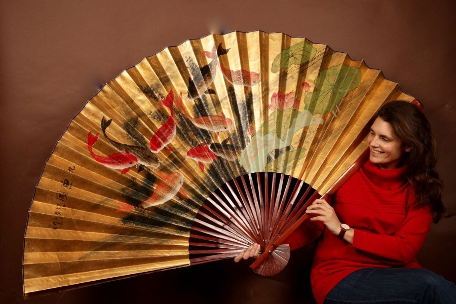 A Unusual And Beautiful Oriental Painted Oversized Fan.
