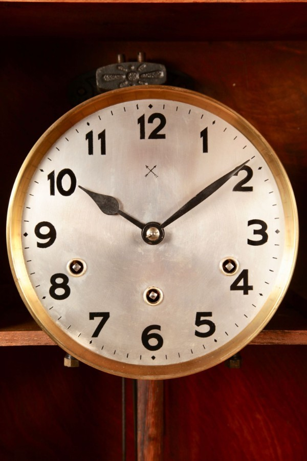 Antique An Art Deco Westminster Carillon Walnut Wall Clock French/Germany circa 1940.