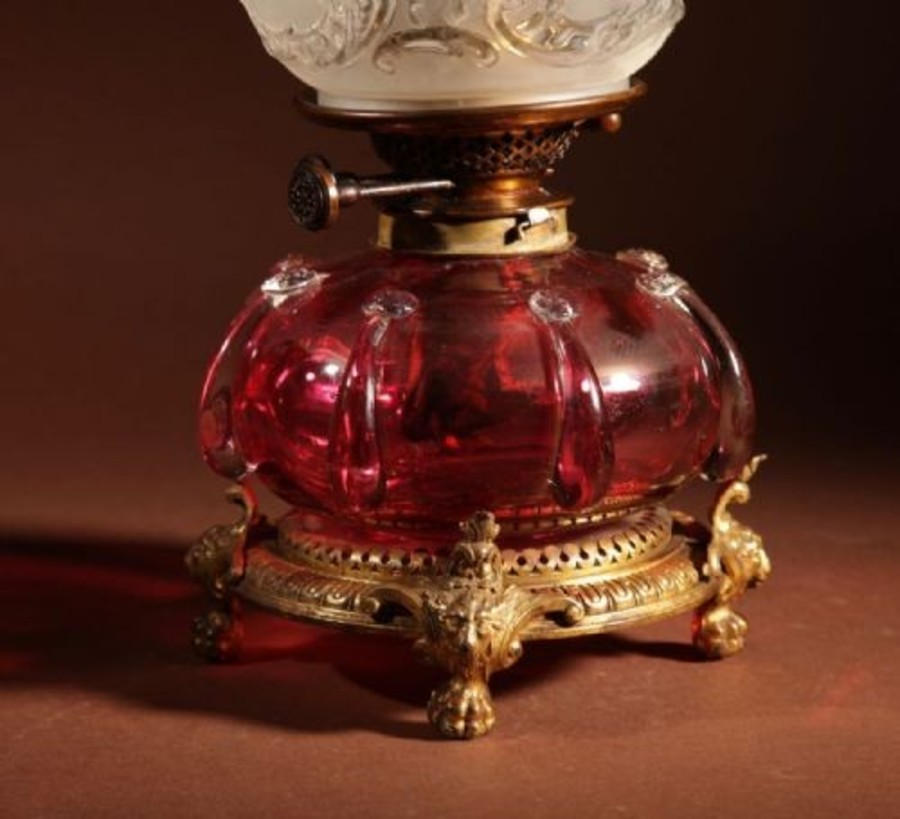 Antique An Unusual Victorian Cranberry Oil Lamp.