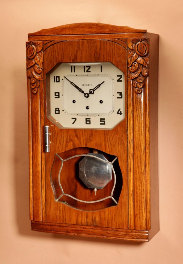 Antique An Art Deco Westminster Vedette Carillon Oak Wall Clock French circa 1935
