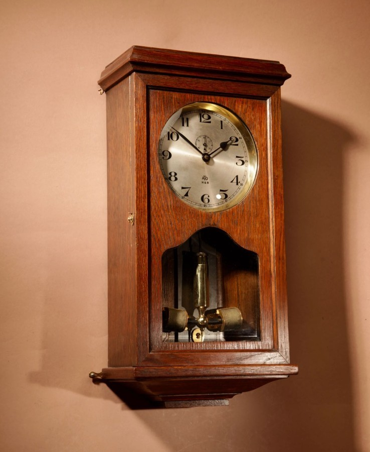 An Early Electrical ATO Haller & Benzing Oak Wall Clock Circa: 1925