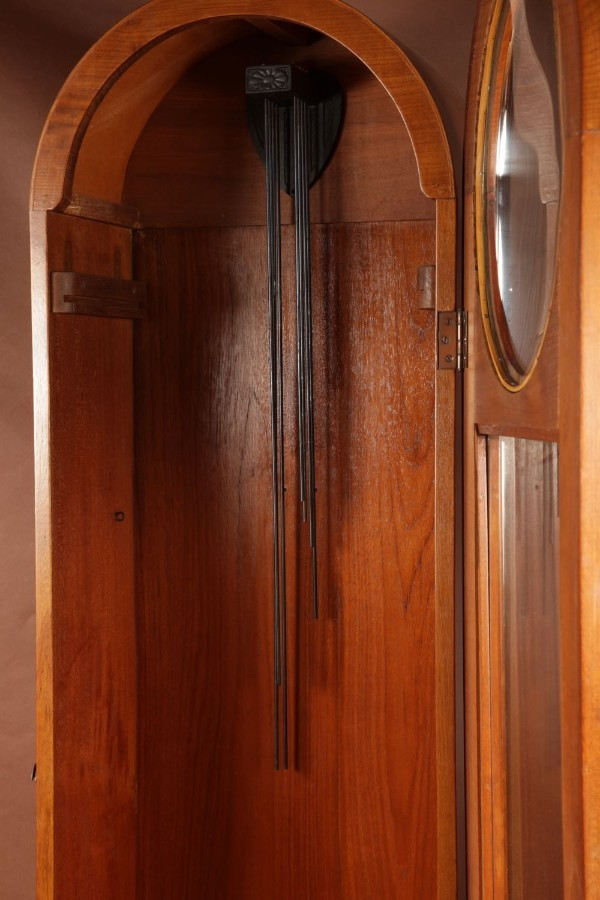 Antique An Art Deco Modernist Junghans Teak/Amaranth And Chrome Very Stylish Westminster Longcase Clock. Circa 1940.