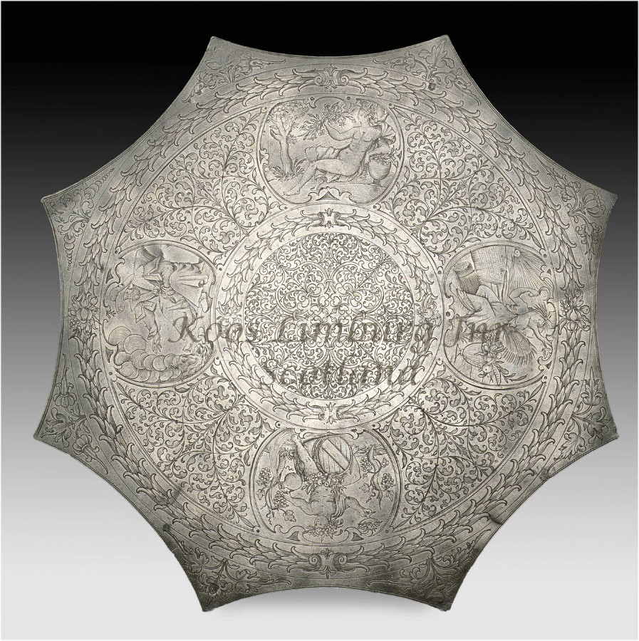 "A magnificent and very rare pewter "" Kuchenplatte ""with silver quality engraving, marked with the..."