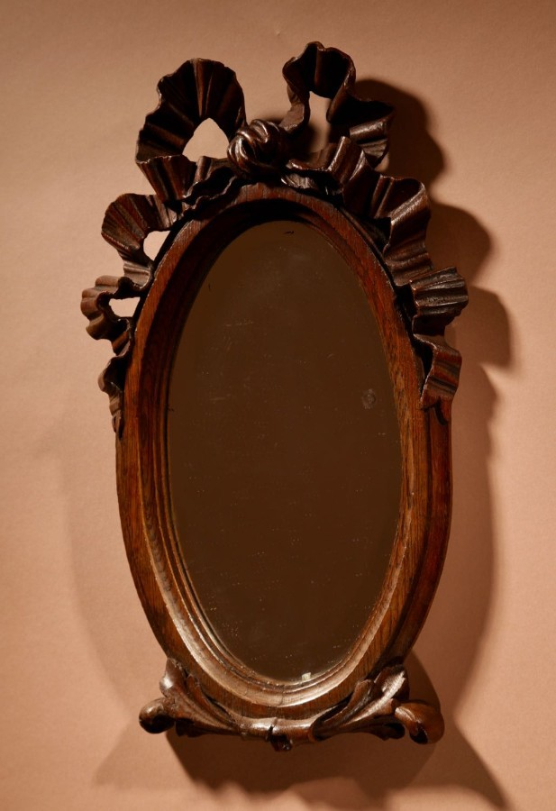 Antique A Decorative Carved Oak Oval Mirror, Louise seize Style, circa 1900