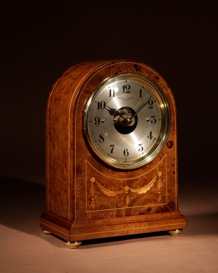 An Early French Original Electrical Bulle Burr Walnut Mantel Clock Inlaid with Guirlandes in Sati...
