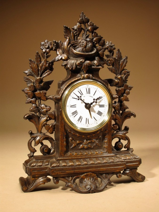 Rare Old French Brown Colour Gild Cast iron Alarm mantel Clock.