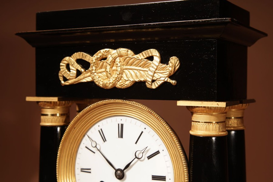 Antique A Finely Made French Louis Philippe Ebonised and Ormolu Portico Mantel Clock Circa: 1840