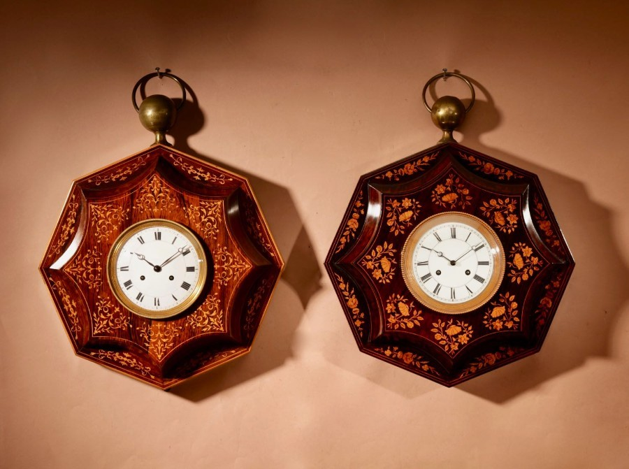 Two Very Decorative Rosewood/Palisandre Inlaid with Lemon Wood French Wall Clocks