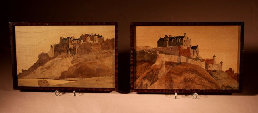 Scottish Interest Charles Spindler Signed A Very Rare Pair Of Very Fine Marquetry Panels.