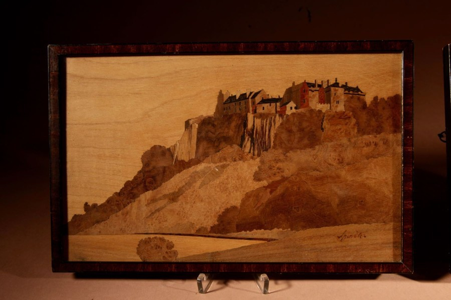 Antique Scottish Interest Charles Spindler Signed A Very Rare Pair Of Very Fine Marquetry Panels.