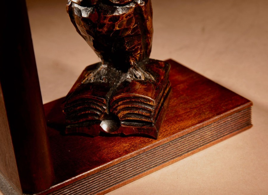 Antique A Decorative Pair Of Carved Wooden Black Forest Art Deco Owl Bookends. Circa 1920-1940