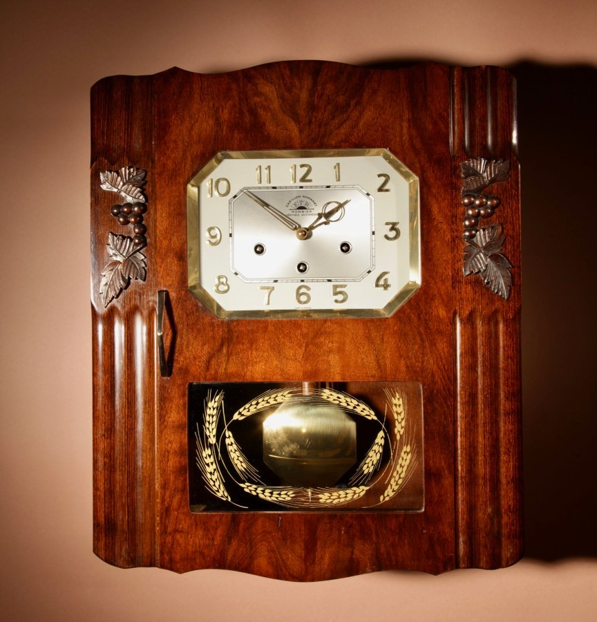 An Art Deco Westminster Carillon Romanet Walnut Wall Clock French circa 1940