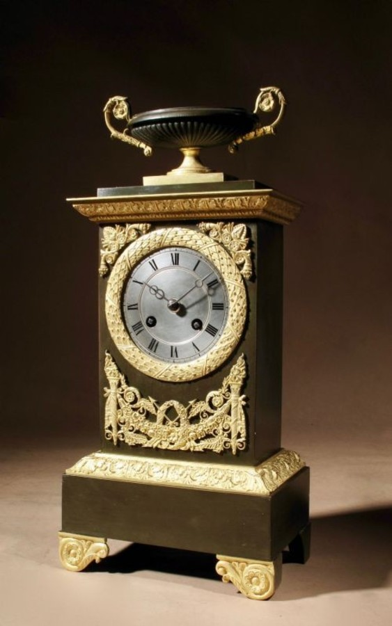 "A very decorative and original French "" Le grand Tour"" Gilded Patinated Bronze Mantel Clock / Pen..."
