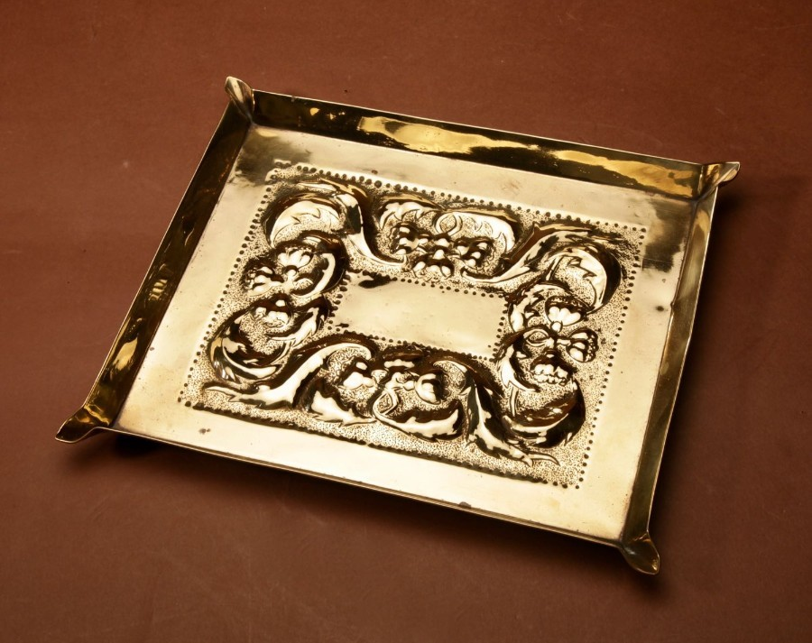 Antique A Decorative Glasgow School Embossed Brass Tray. Circa 1900.