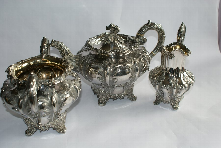 Victorian 3 Piece Silver Tea Set by Reily & Storer  London 1842/3