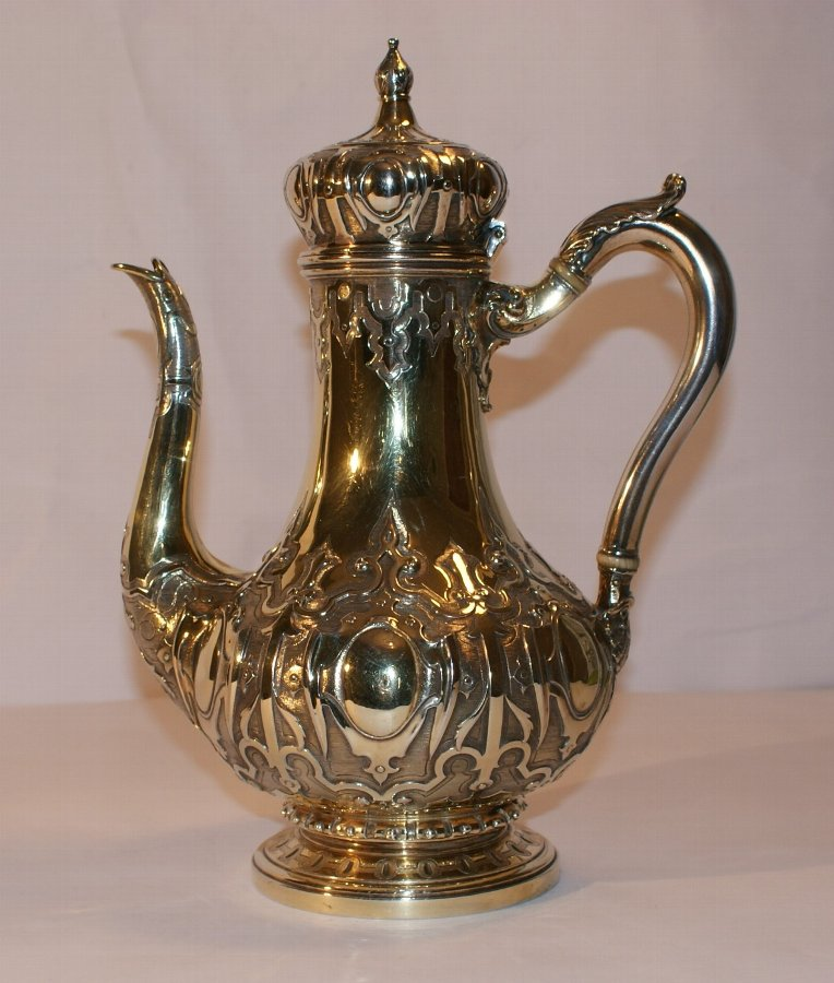 Silver Gilt Coffee Pot By Hunt & Roskell London 1850