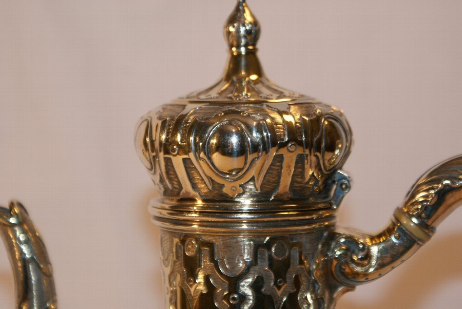 Antique Silver Gilt Coffee Pot By Hunt & Roskell London 1850