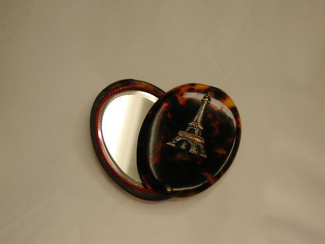 Antique French Tortoiseshell Hand Bag Mirror with Silver Plated and Gilt Eiffel Tower Motif