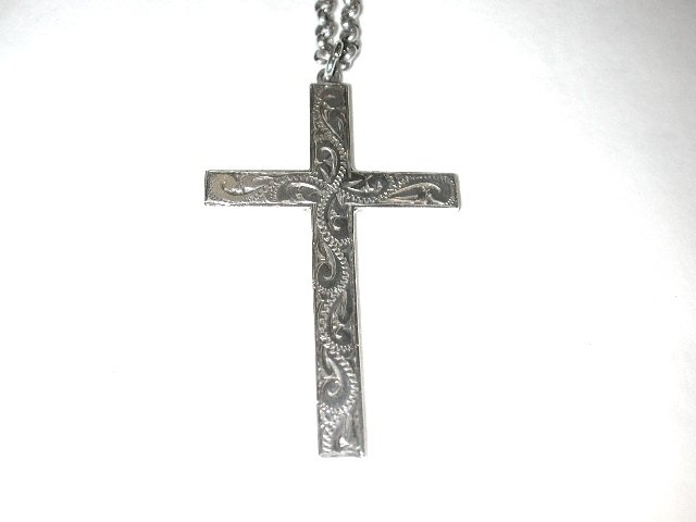 Antique Silver Cross and Chain