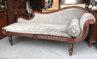 Antique Superb Looking Original Regency Chaise Lounge. New Upholstery.