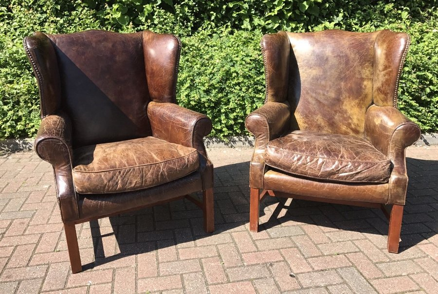 The Most Amazing Pair Of Brown Leather Library Armchairs
