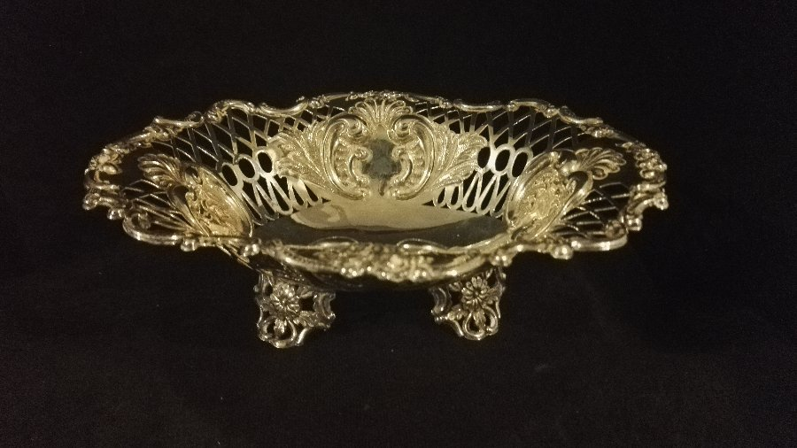 Antique Sterling Silver Oval Foliate Peirced Dish - Bowl Sibray Hall & co 1893