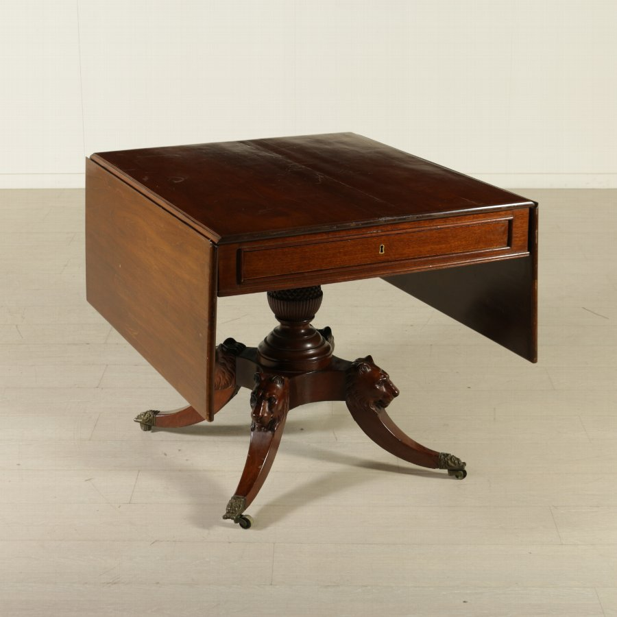Solid Mahogany Drop Flap Table England 19th Century