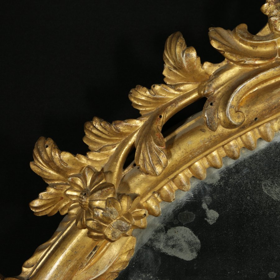 Antique Elegant Mid 18th Century Baroque Carved and Gilded Wooden Mirror Frame