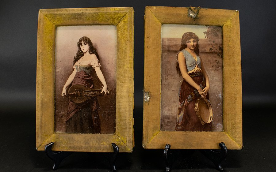 Victorian Crystoleums of Travelling Gypsy Romani Ladies (Pair), Signed