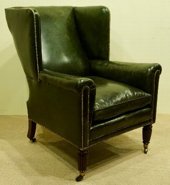 Antique Regency Leather Armchair in Manner of Gillows