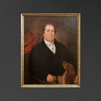 Antique Portrait Of A Country Gentleman, Naive English Oil Painting