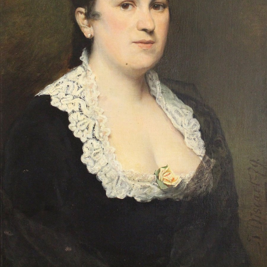 Antique Portrait Of A Lady With A Yellow Rose [Jean Baptiste Discart], 19th Century Oil Painting