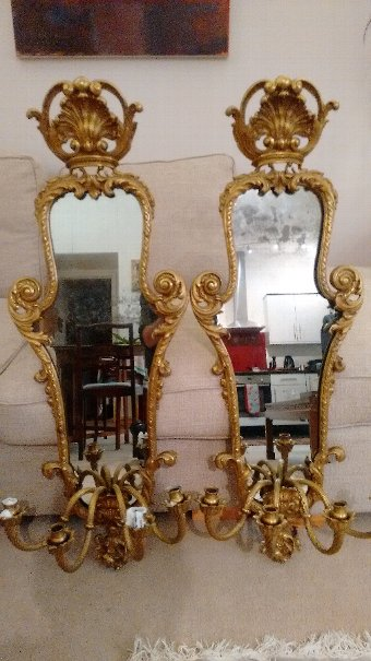 Antique Pair of French Girandoles (mirrored candelabra)