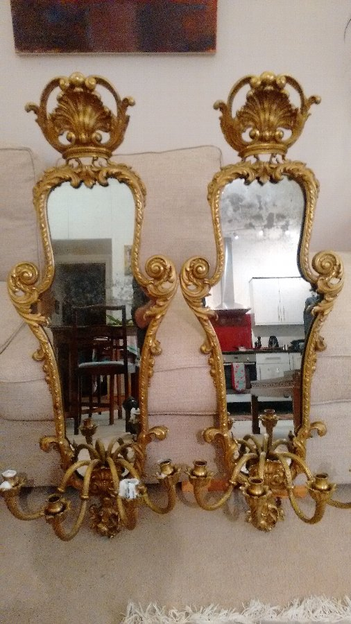 Pair of French Girandoles (mirrored candelabra)