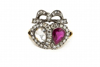 Antique Ruby  Diamond Double Heart Ring