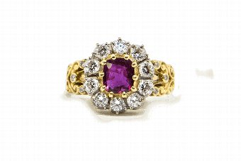 Antique Ruby  Diamonds Cluster Ring