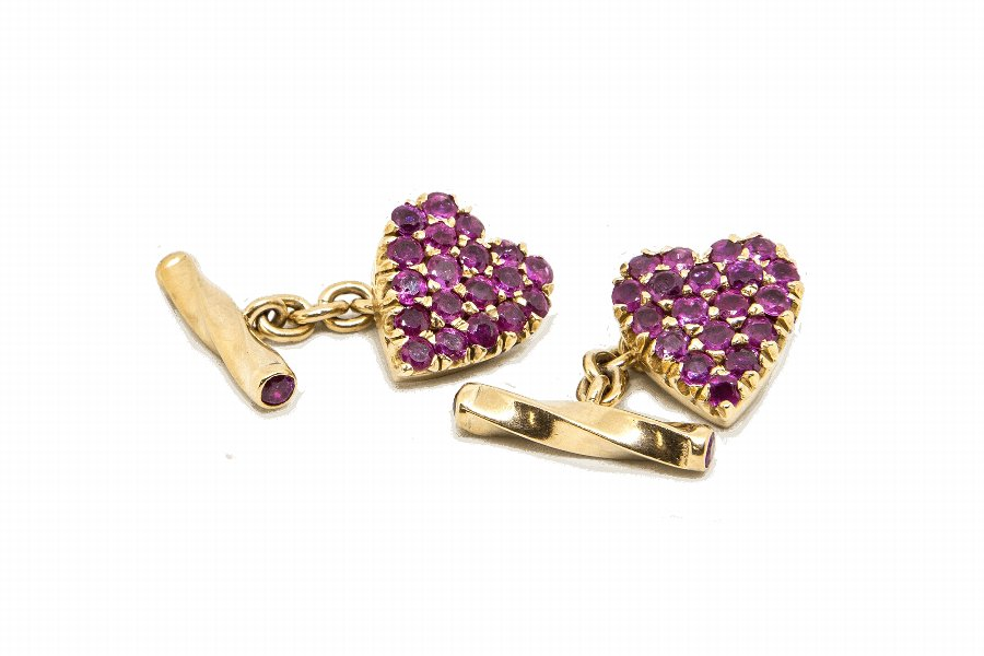Heart Shape Ruby Cufflinks