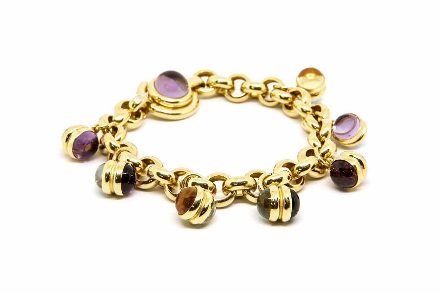 Multi Colors Stones  Gold Bracelet