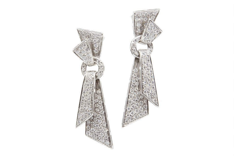 Art Deco Diamond  God Drop Earrings