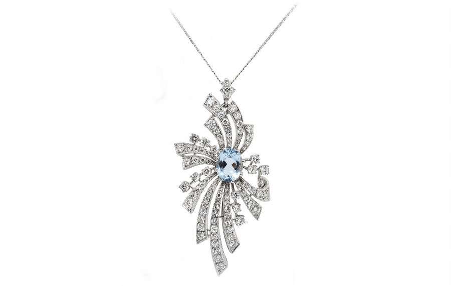 Aqua  Diamond Pendant
