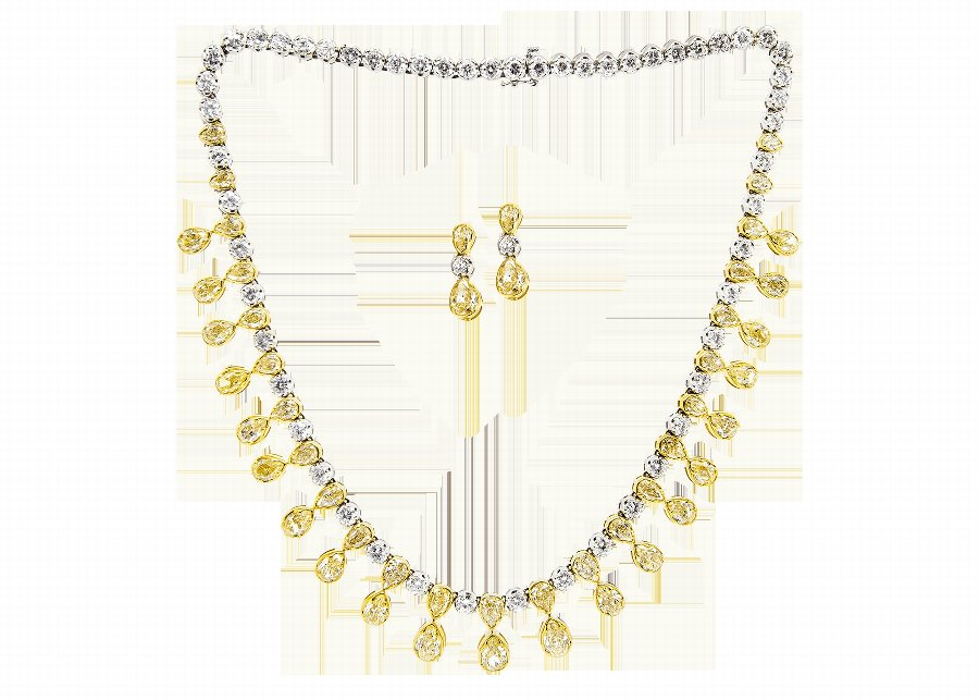 Yellow  White Diamond Jewellery Suite