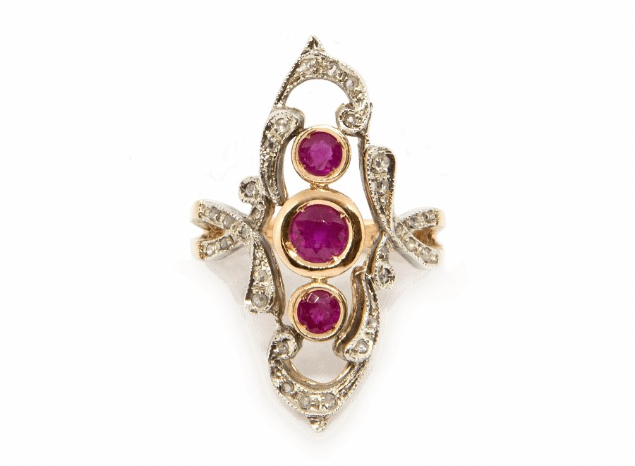 Three Rubies Ring